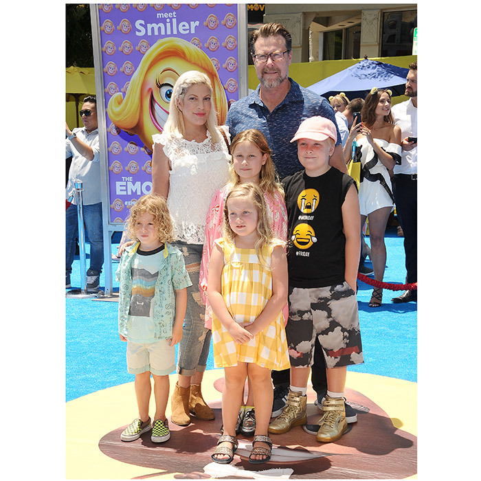 Tori Spelling and husband Dean McDermott stepped out on the <I>Emoji Movie</I> blue carpet, too, with four of their five kids: Liam, ten, Stella, nine, Hattie, five, and four-year-old Finn.