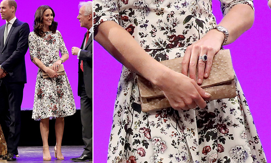 For the second day in Poland, Duchess Kate opted for a pretty floral look by Canadian designer Erdem and a clutch by one of her favorite brands, <B>Etui</B>.