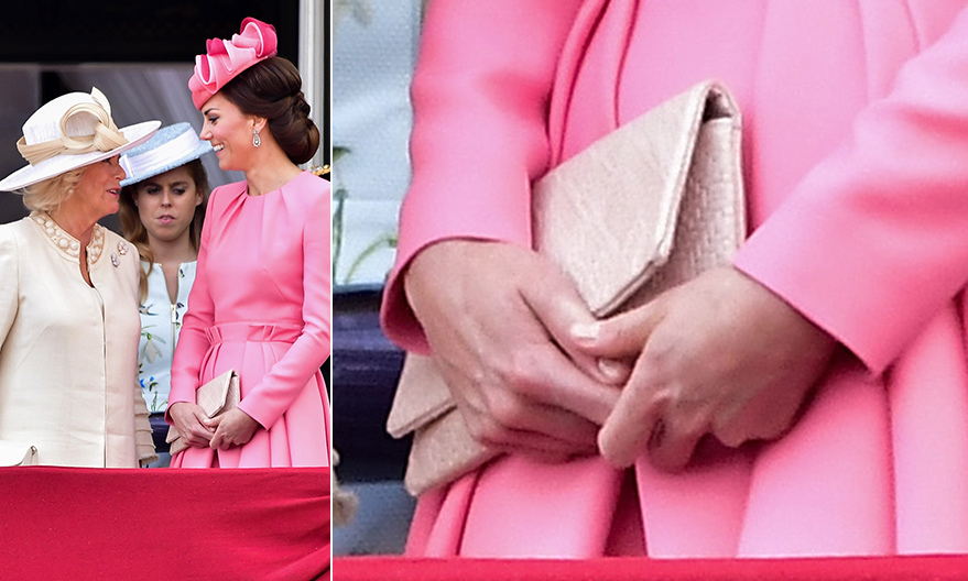 At Trooping the Colour in June 2017, a soft embossed <b>Etui</B> clutch was the perfect complement to the royal's pink Alexander McQueen dress with her Jane Taylor fascinator.