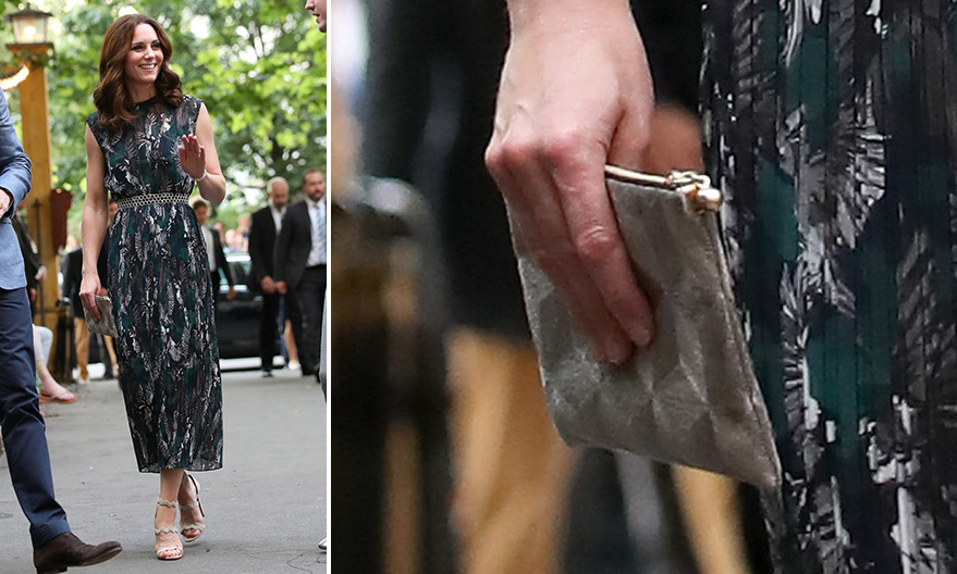 Duchess Kate loves an embossed clutch! She chose one by <b>Anne Grand-Clément</B> while in Germany, pairing it with her Markus Lupfer bird print dress.