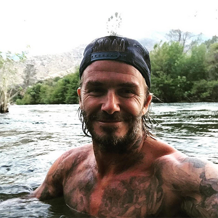 "Another Brit enjoying some Stateside fun is David Beckham, who has been documenting his motorcycle road trip through California on Instagram. In this shot, the ex-soccer player's tattoos are on display as he takes a ""morning dip / shower"".
