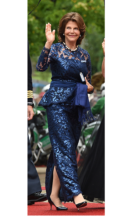 Queen Silvia of Sweden was simply sparkling in a metallic blue lace ensemble for the Festival Theatre (Festspielhaus) on July 25 in Bayreuth, southern Germany.