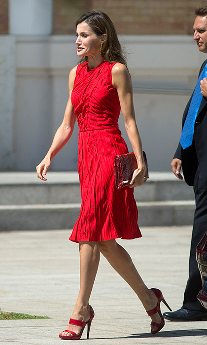 Also opting for head to toe red was Queen Letizia, in a Nina Ricci dress for an outing in Malaga, Spain on July 24. 