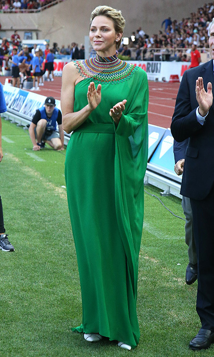Princess Charlene made a fashion statement – and paid tribute to her South African roots – with a draped one shouldered gown and beaded neck embellishment for the IAAF Diamond League Herculis track and field competition.