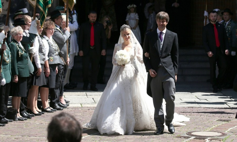 London-based designer Ekaterina Malysheva had not one, but three dresses made exclusively for her by Sandra Mansour for her royal wedding to Prince Ernst-August Jr. of Hanover on July 8, 2017.