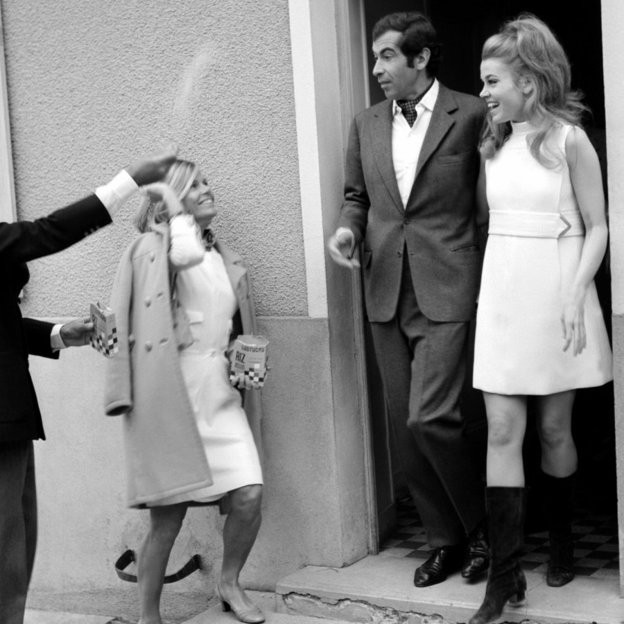 French director Roger Vadim and actress Jane Fonda had the ultimate Swinging Sixties wedding – with the bride wearing a minidress and go go boots – when they were married in Saint-Ouen Marchefroy, France on May 19, 1967.