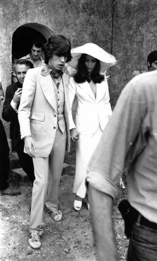 Celebrity weddings, too, were less elaborate – such as Mick Jagger, whose bride Bianca wore a tailored white suit when they married in Saint-Tropez on May 12, 1971. 