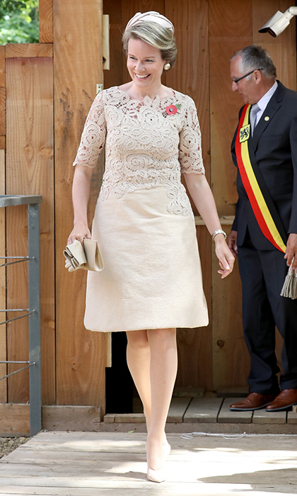 Queen Mathilde of Belgium wore a lace embroidered nude ensemble for the official opening of the Zonnebeke Church Dugout, a preserved First World War dugout, in Ypres, Belgium on July 31.