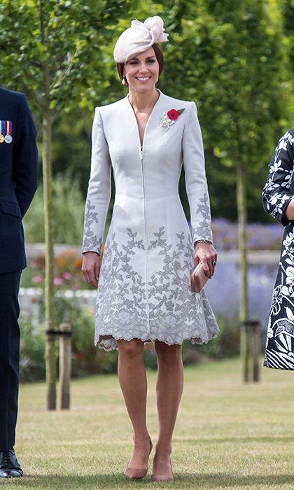 The Duchess of Cambridge chose one of her go-to labels for official engagements, Catherine Walker, on day two of her visit to Belgium with Prince William on July 31.