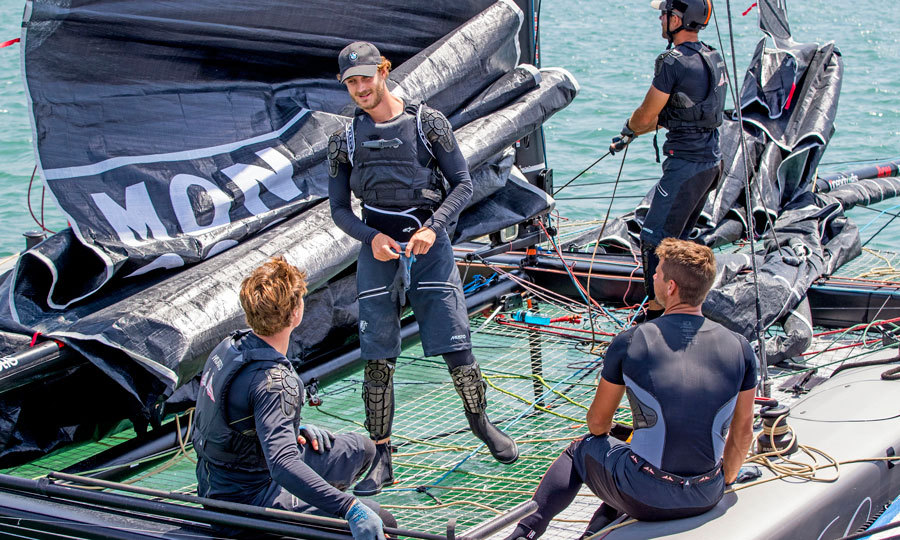 Princess Caroline's son Pierre, 29, suited up in his navy sailing attire as he trained with his team Malizia ahead of their GC32 division race.