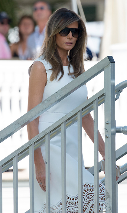 On July 16, 2017, the first lady wore a little white dress with lace hem to the 72nd US Women's Open Golf Championship at Trump National Golf Course in Bedminster, New Jersey.