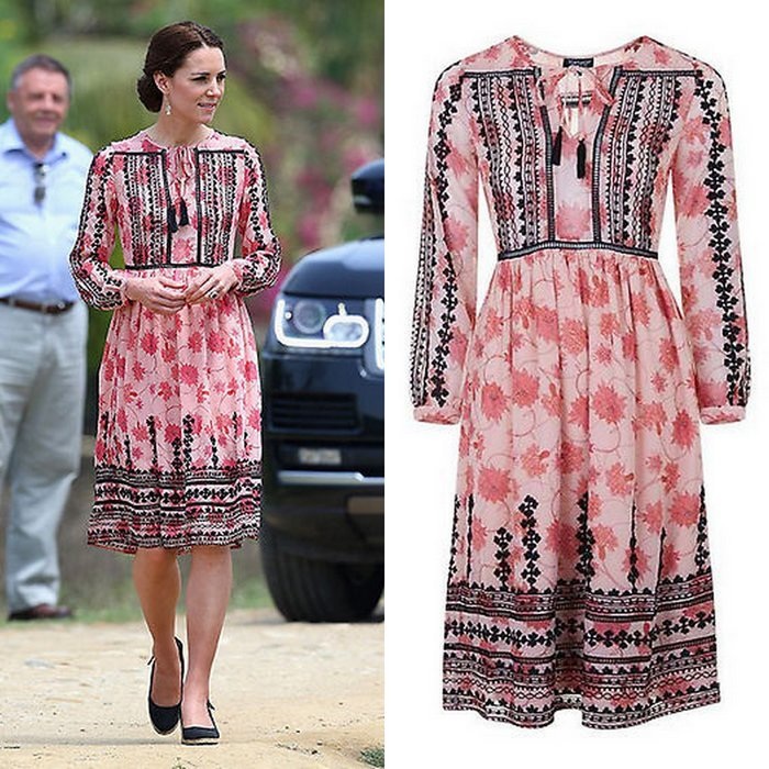 During the royal tour of India in 2016, Duchess Kate showed her more bohemian side in this $140 dress from <B>Topshop</B>.