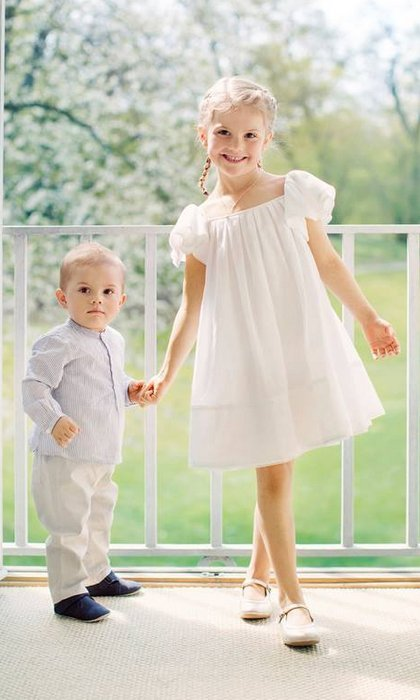 For a June 2017 photo shoot with little brother Prince Oscar, five-year-old Princess Estelle of Sweden wore a sweet little white dress from <b>H&M</B>'s Conscious collection.