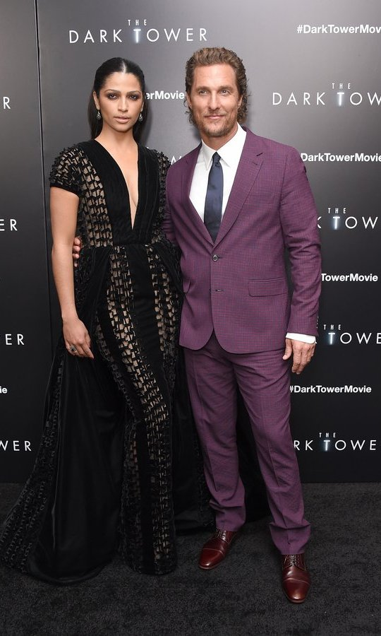 Hollywood couple Camila Alves, wearing Georges Chakra couture, and Matthew McConaughey stepped out together for the New York premiere of <I>The Dark Tower</I> on July 31.