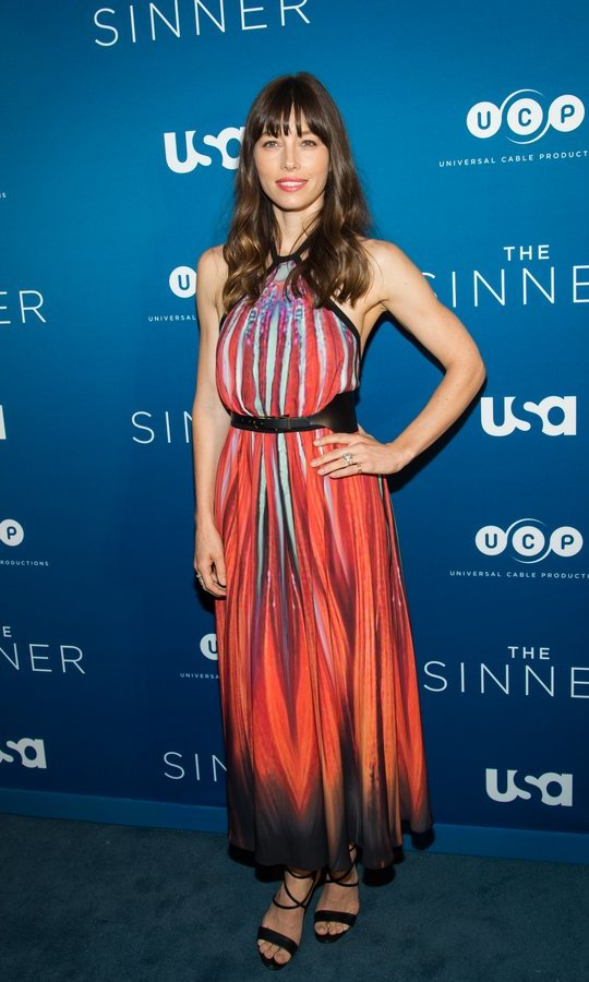 Jessica Biel donned a red hot print from Elie Saab for the series premiere screening of <I>The Sinner</I> at the Crosby Street Hotel on July 31 in NYC.