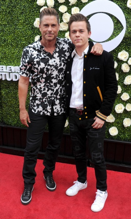 Like father, like son! Rob Lowe, 53, posed with his 22-year-old son John Owen on the carpet for CBS Television Studios' Summer Soiree in L.A. on August 1. 