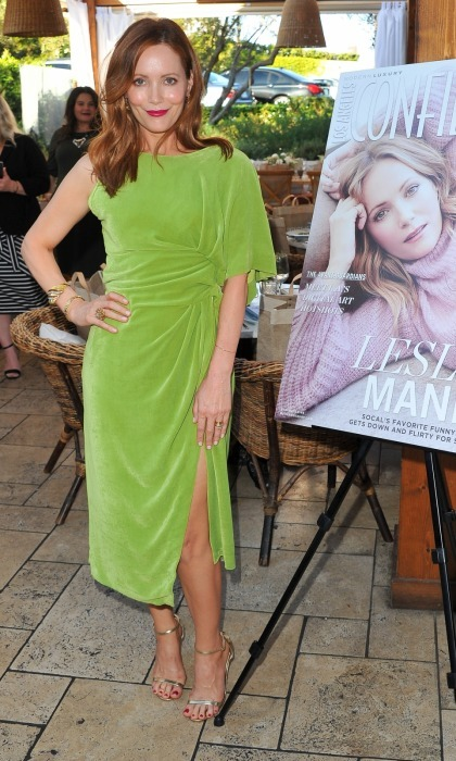 Leslie Mann made us green with envy when she wore a velvet Pucci dress to the celebration of her Los Angeles Confidential cover issue on August 3. The 45-year-old actress paired the knockout frock with Jimmy Choo heels for the Newport Beach event.