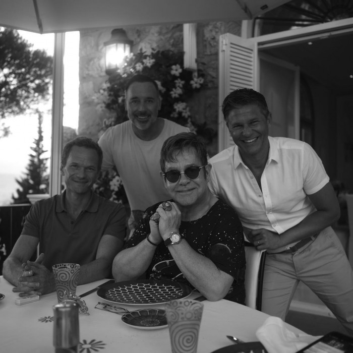 Sir Elton John and husband David Furnish had some special friends meet them on their summer holiday in the South of France. The famous couple were joined by Neil Patrick Harris and his husband David Burtka, who they vacation with every summer. 