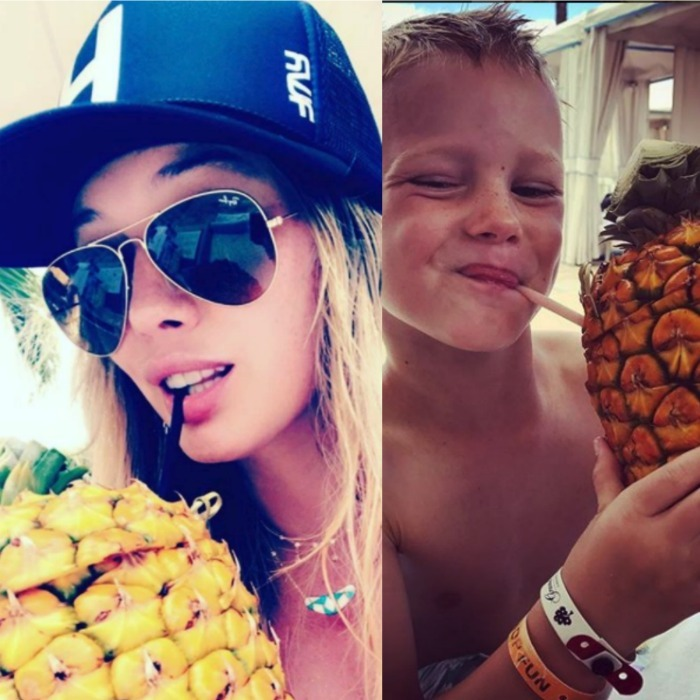 "Hilary Duff and her son Luca enjoyed some tropical treats during their trip to Hawaii. The <i>Younger</i> star shared identical pics of herself and her little man drinking from a pineapple. ""It's good to be this guy,"" she captioned the pic.