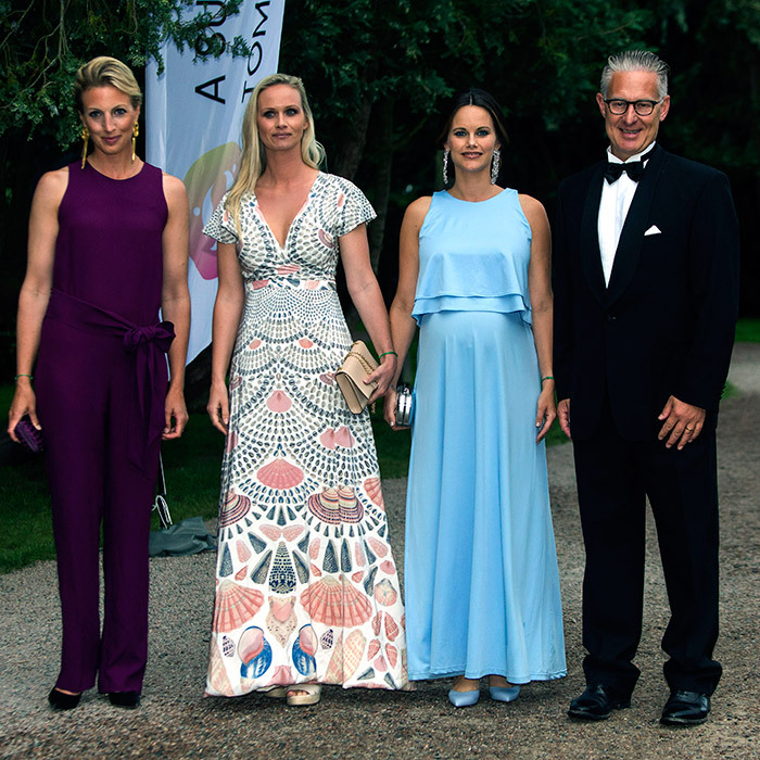 Before starting her maternity leave, Princess Sofia of Sweden, second from right, joined leaders from 'A Sustainable Tomorrow' for a party in support of the charity on August 2 in Bastad, Sweden. 