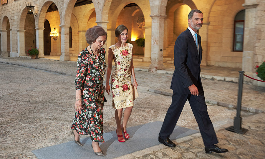 Queen Letizia of Spain shared a laugh with her mother-in-law Queen Sofia as the two ladies joined King Felipe VI at a dinner at Almudaina Palace in Palma de Mallorca. 