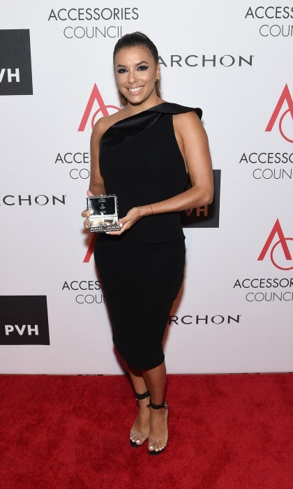 Eva Longoria stunned in an off-the-shoulder dress by Georges Chakra during the Accessories Council's 21st Annual celebration of the ACE awards in NYC.