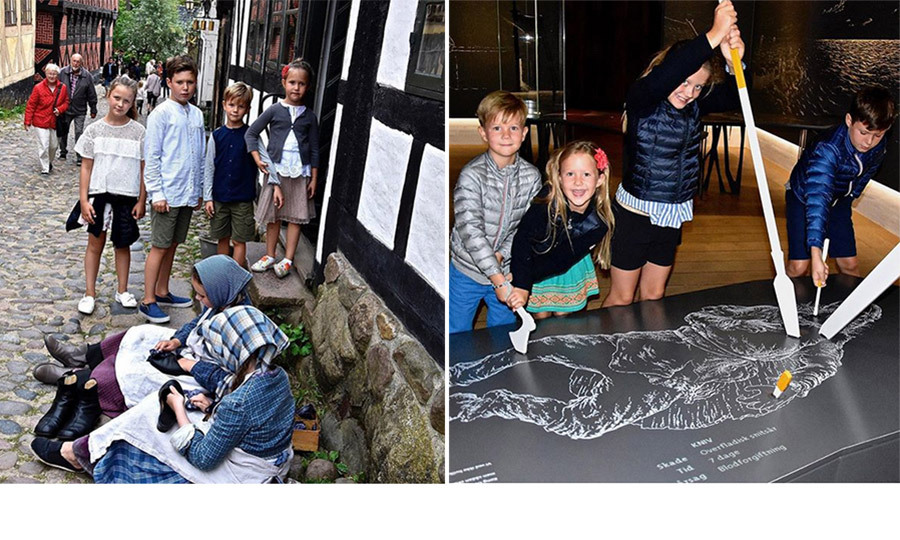 There's nothing better than a learning vacation! Just ask Danish royal kids Prince Christian, 11, Princess Isabella, ten, and six-year-old twins Prince Vincent and Princess Josephine, who are on holiday with their parents Crown Prince Frederik and Crown Princess Mary. The young foursome checked out the old town of the city of Aarhus, left, and also the National Museum of Denmark's Experience Center in the village of Jelling to learn about Vikings, right.
