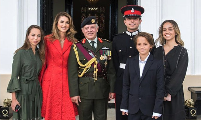 King Abdullah and Queen Rania later posted this family portrait with their four children: Princess Salma, 16, Crown Prince Hussein, 23, Prince Hashem, 12, and Princess Iman, 20.