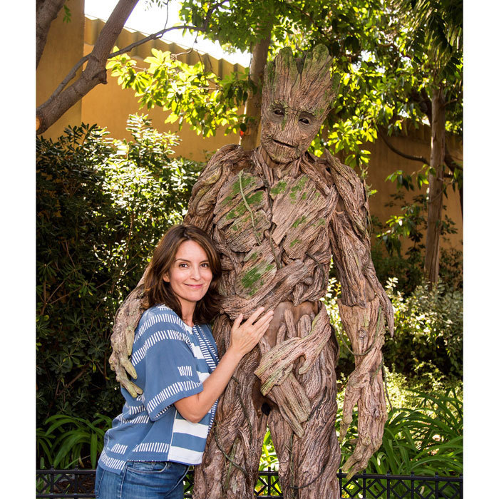 Tina Fey met <i>Guardians of the Galaxy</i> star Groot outside of the Guardians of The Galaxy - Mission: Breakout attraction at Disney California Adventure on August 13.