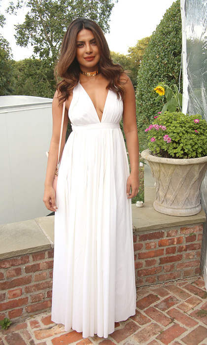 Priyanka Chopra channeled her inner Grecian goddess at the Guild Hall Summer Gala 2017 in East Hampton, New York on August 11.