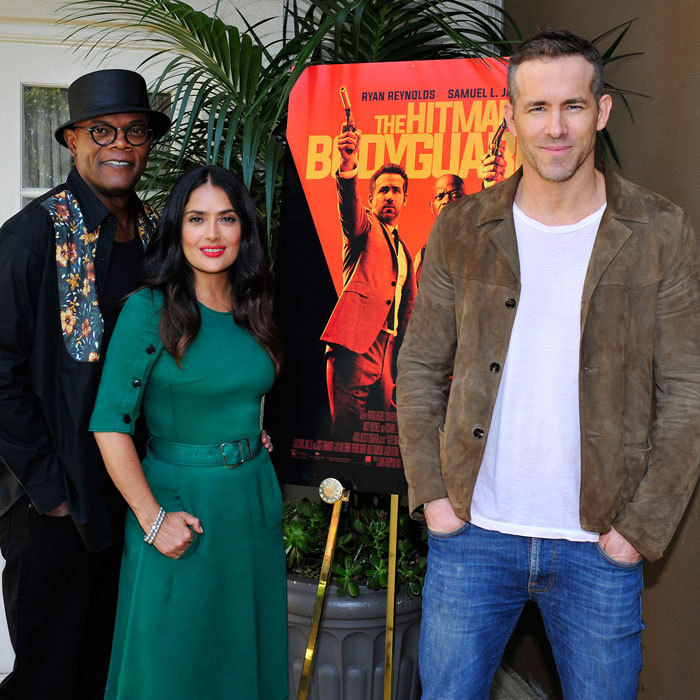 Ryan Reynolds, Salma Hayek and Samuel L. Jackson were quite the trio on the promotional tour for <i>The Hitman`s Bodyguard</i>, in theaters on Friday, August 18.