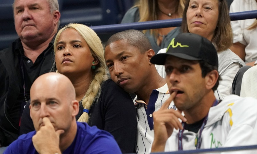 "Lean on me! Pharrell Williams was ""happy"" he had his wife Helen Lasichanh there to watch the match between Darian King of the US and Alexander Zverev of Germany. 