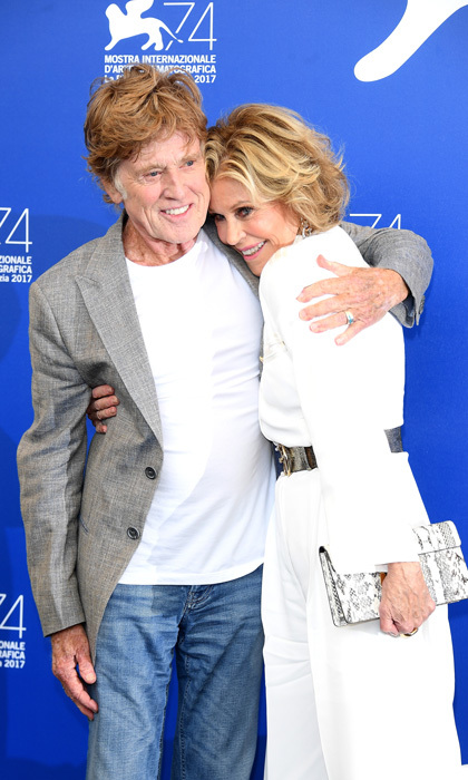 Robert Redford and Jane Fonda shared a sweet hug at a photocall for <i>Our Souls at Night</i>.