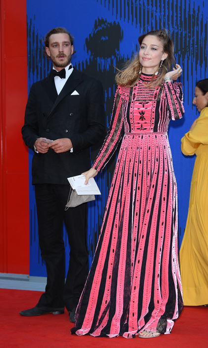 Pierre Casiraghi and Beatrice Borromeo, in Valentino, brought the royal style to the Venice Film Festival as they attended The Franca Sozzani Award.