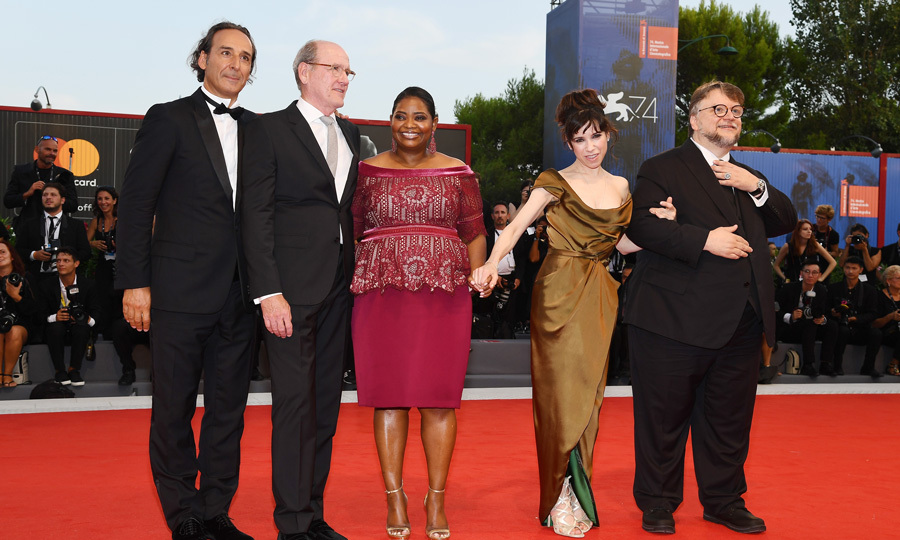 Alexandre Desplat, Richard Jenkins, Octavia Spencer, Sally Hawkins and Guillermo Del Toro made quite the group at the premiere of their film <i>The Shape of Water</i>.