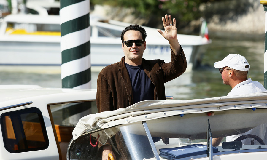 Vince Vaughn, who is in town for his film <i>Brawl in Cell Block 99</i>, waved to fans as he approached the dock.
