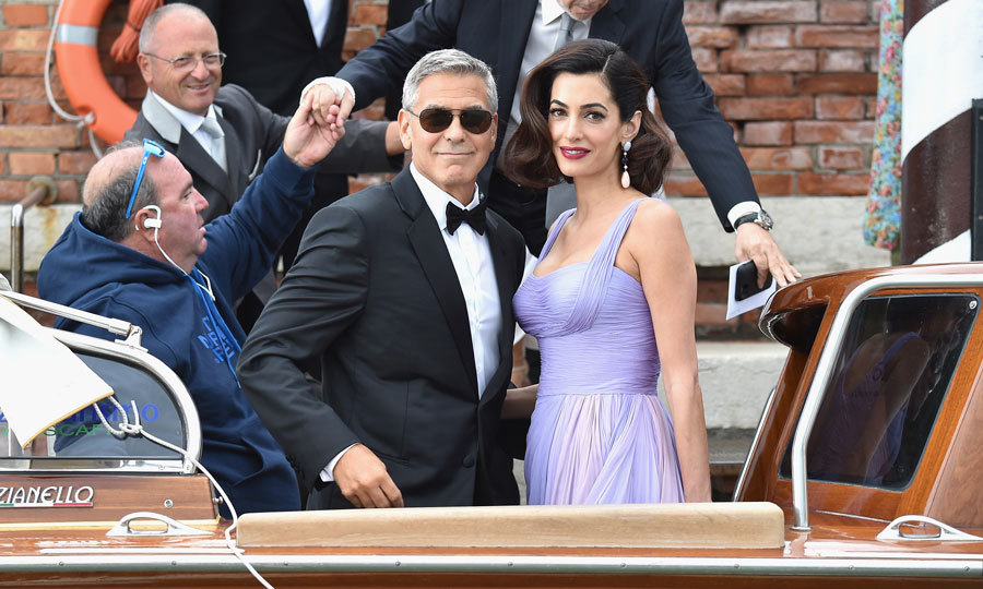 Amal exuded Hollywood glamour with her hair pinned up and big waves next to her husband, who looked extra dapper in a tux.