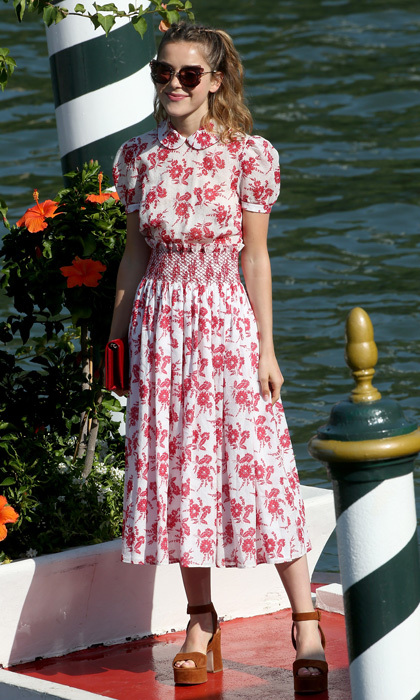 Kiernan Shipka's floral dress matched the scenery as she made her way around Venice.