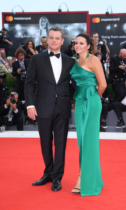 Matt Damon's wife Luciana Barroso was a vision in green Marchesa at the <i>Suburbicon</i> premiere.
