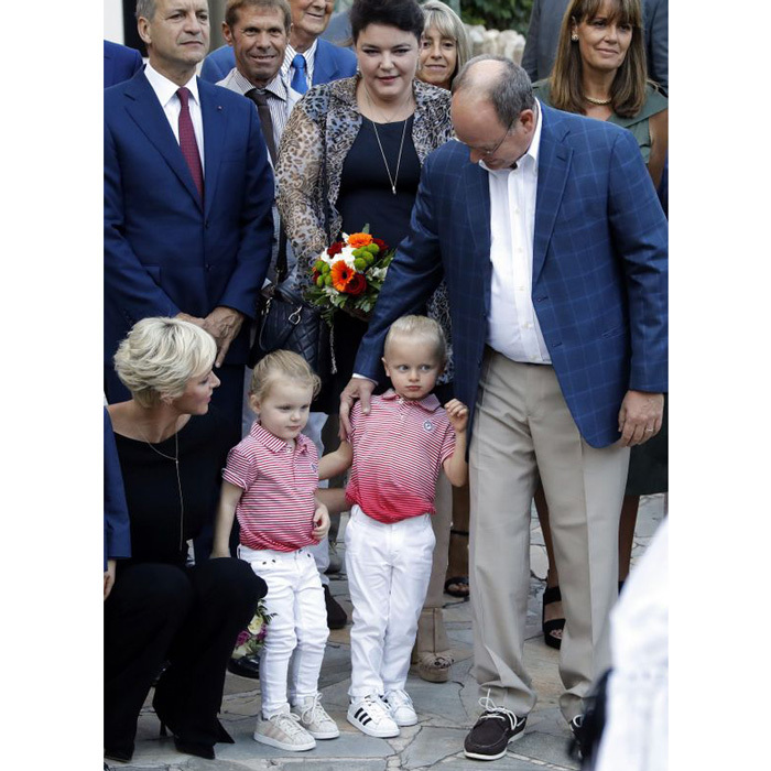 September 2017: Jacques and Gabriella matched as they attended the Monaco Picnic on the first of the month. The little royals both had on Adidas sneakers with white jeans and red patterned shirts alongside their parents Charlene and Albert. 