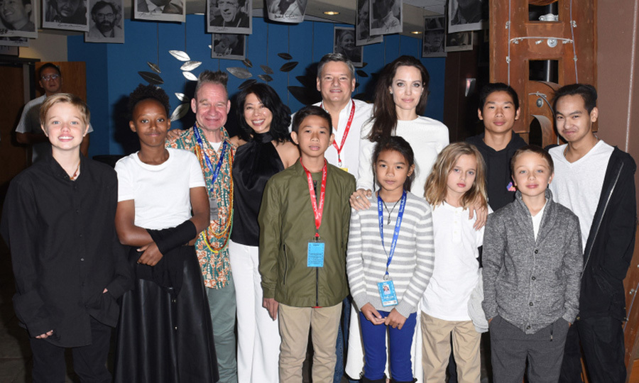 Angelina Jolie had the support of her and Brad Pitt's six kids Shiloh, 11, Zahara, 12, Pax, 13, Vivienne, 9, Knox, 9, and 16-year-old Maddox, who also is executive producer of the film, at the premiere of <i>First They Killed My Father</i> during the Telluride Film Festival in Colorado on September 2.