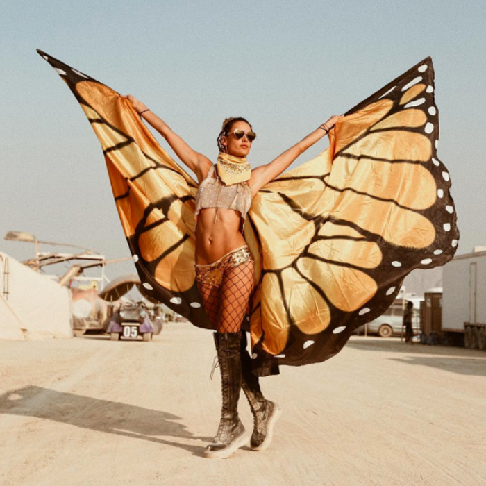 Alessandra Ambrosio tested out a different set of wings during her Burning Man experience. 