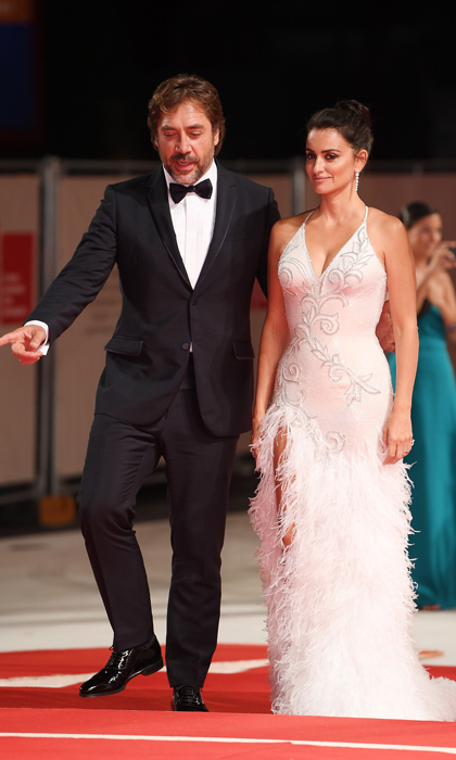 Penelope Cruz and Javier Bardem, who have been married for seven years, looked reminiscent of their wedding day as they hit the red carpet in Venice for their film <i>Loving Pablo</i>.