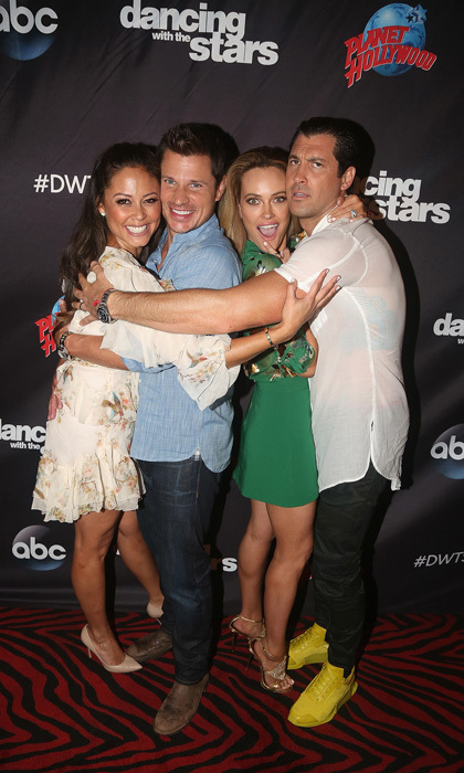 DWTS Swap! Vanessa and Nick Lachey will be putting on their dancing shoes and partnering with Maks Chmerkovskiy and Peta Murgatroyd respectively on the upcoming season of <i>Dancing with the Stars</i>. To kick off the new season, the couples celebrated at Planet Hollywood Times Square in NYC.