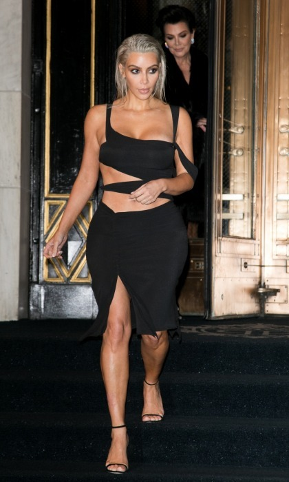 Kendall's sister Kim was spotted heading to the party looking chic in a black cutout dress.