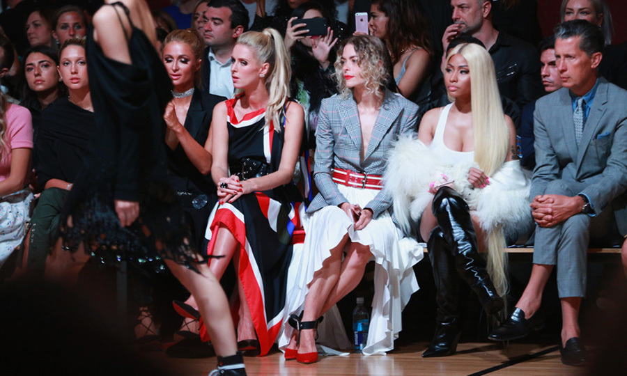 Princess Olympia of Greece, Paris Hilton, Nicky Hilton Rothschild, Jaime King, Nicki Minaj and Stefano Tonchi made up quite the front row at MONSE.