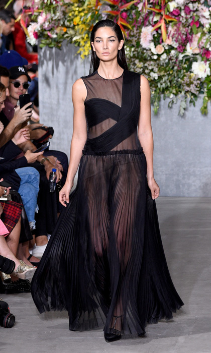 Lily Aldridge closed the Jason Wu runway presentation in a sheer black gown.