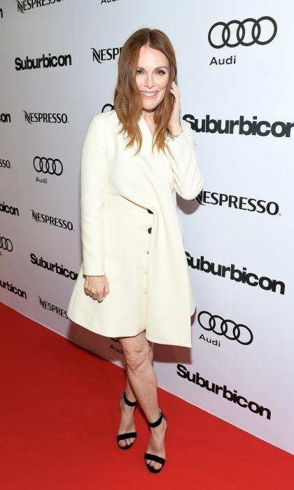 George's leading lady in <i>Suburbicon</i>, Julianne Moore looked chic in a white coat-dress at their post-premiere party hosted by Nespresso and Audi at Patria.