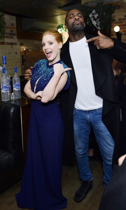 <i>Molly's Game</i> buddies Jessica Chastain and Idris Elba kept things fun at their film's premiere party, which was hosted by Grey Goose vodka at The Citizen on September 8. 