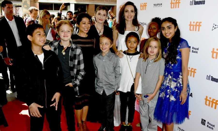 Full house! Angelina Jolie brought some of her kids to the premiere of <i>The Breadwinner</i> at the Winter Garden Theatre on September 10. The actress and director posed on the red carpet with Zahara, 12, Shiloh, 11, and her nine-year-old twins Knox and Vivienne. 